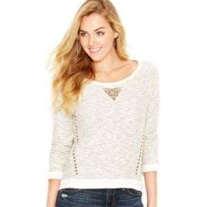 Lucky Lotus Studded Boatneck metallic sweater